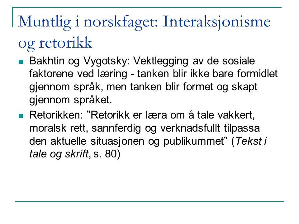 Grøver Aukrust: Samtaledeltakelse i norske klasserom (i Klette 2003) Læreren hadde ordet 60% av ytringene Nesten samtlige elever hørte sin egen stemme Langt de fleste kom til orde (men noen færre i 9.