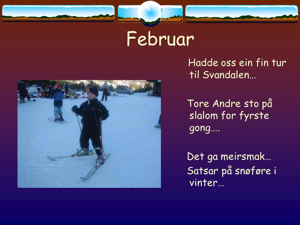 Februar Hadde oss ein fin tur til Svandalen… Tore Andre sto på slalom for fyrste gong….