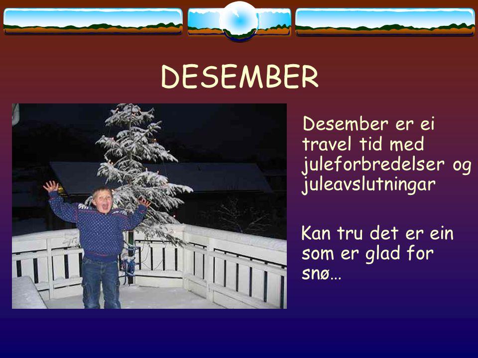DESEMBER Desember er ei travel tid med juleforbredelser og juleavslutningar Kan tru det er ein som er glad for snø…