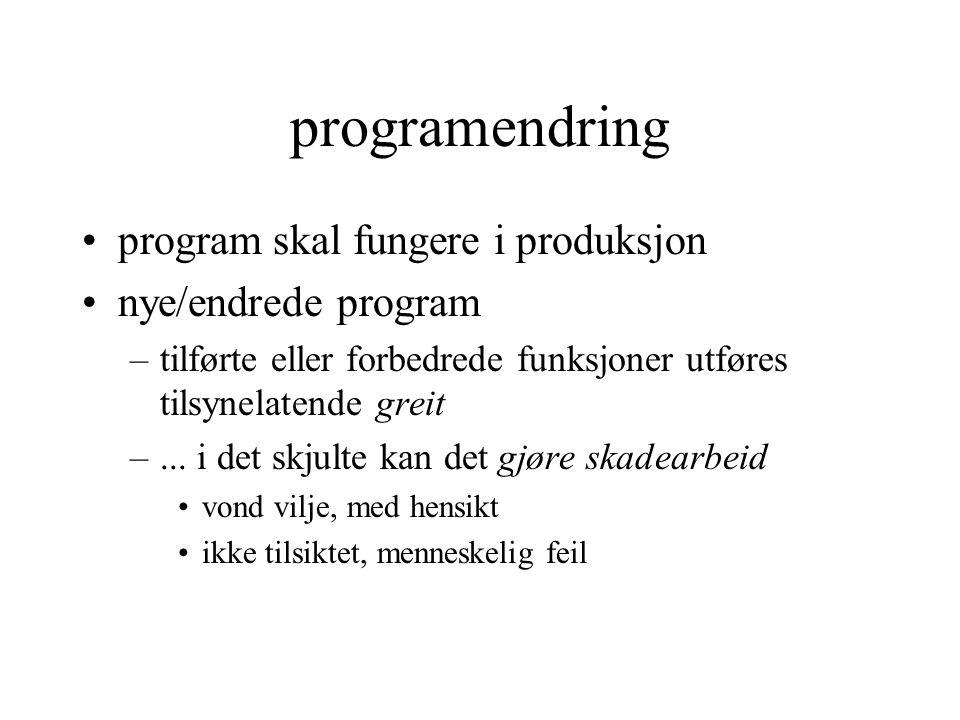 programendring program skal fungere i produksjon nye/endrede program –tilførte eller forbedrede funksjoner utføres tilsynelatende greit –...