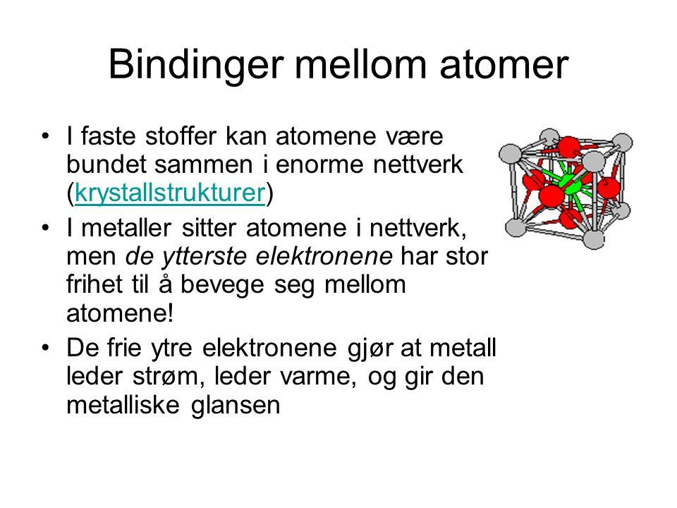 Bindinger mellom atomer I faste stoffer kan atomene være bundet sammen i enorme nettverk (krystallstrukturer)krystallstrukturer I metaller sitter atom