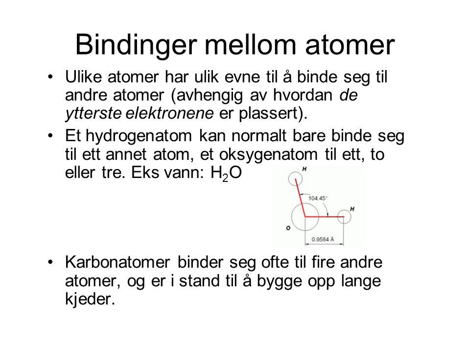 Bindinger mellom atomer Ulike atomer har ulik evne til å binde seg til andre atomer (avhengig av hvordan de ytterste elektronene er plassert). Et hydr