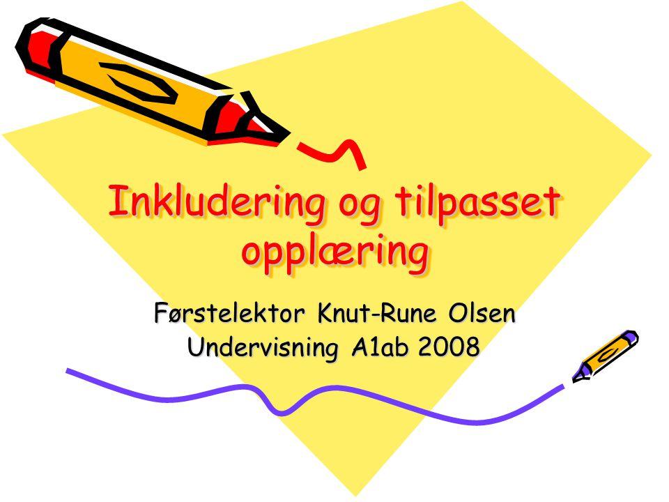 Inkludering og tilpasset opplæring Førstelektor Knut-Rune Olsen Undervisning A1ab 2008