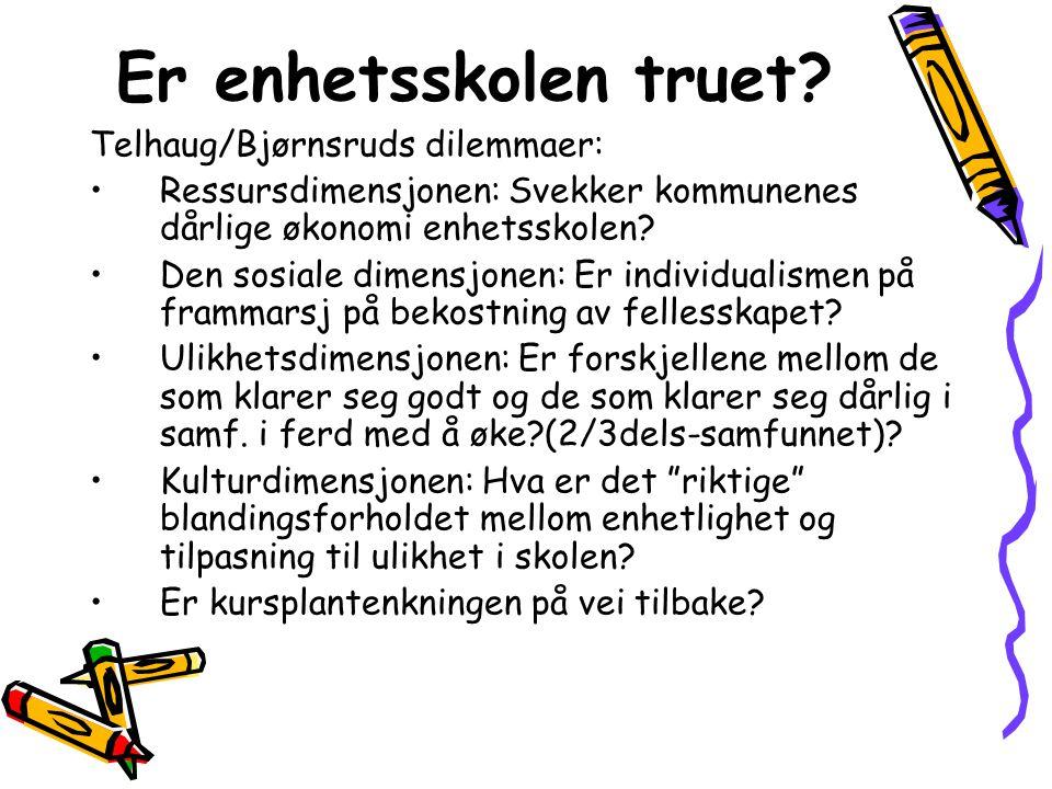 Er enhetsskolen truet? Telhaug/Bjørnsruds dilemmaer: Ressursdimensjonen: Svekker kommunenes dårlige økonomi enhetsskolen? Den sosiale dimensjonen: Er