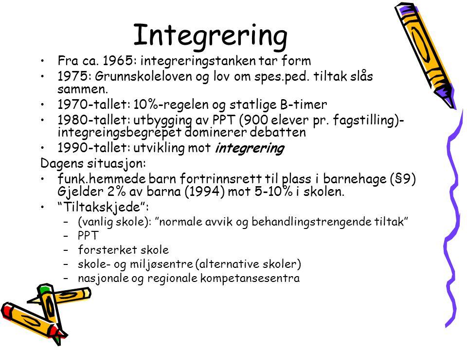 Integrering Fra ca. 1965: integreringstanken tar form 1975: Grunnskoleloven og lov om spes.ped. tiltak slås sammen. 1970-tallet: 10%-regelen og statli