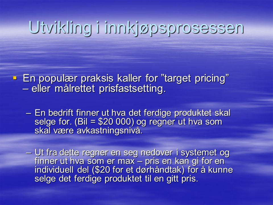 Utvikling i innkjøpsprosessen  En populær praksis kaller for target pricing – eller målrettet prisfastsetting.