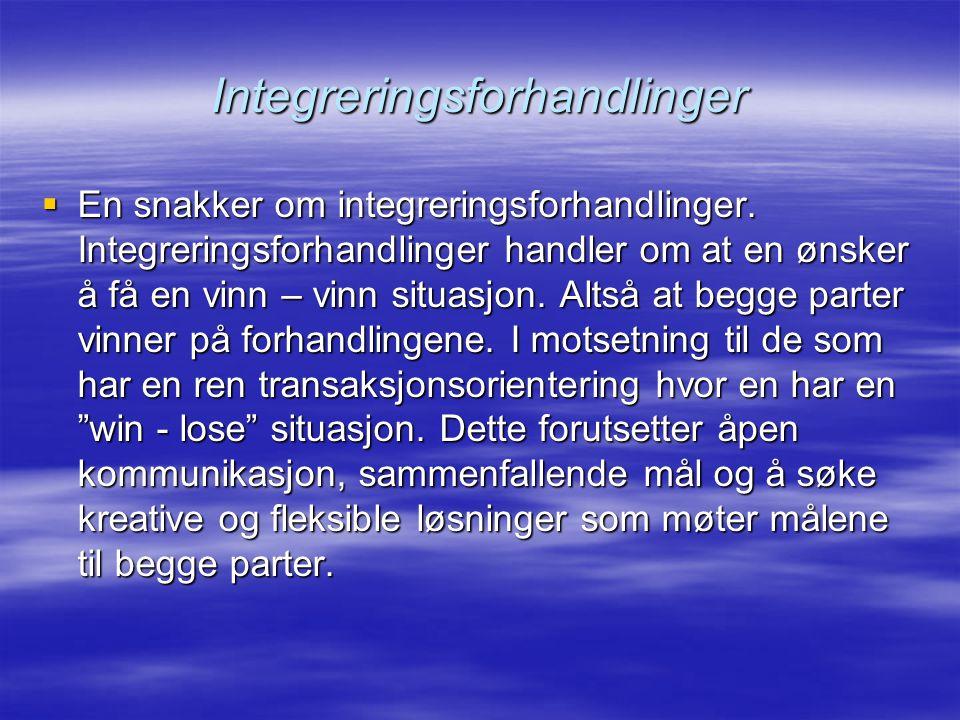 Integreringsforhandlinger  En snakker om integreringsforhandlinger.