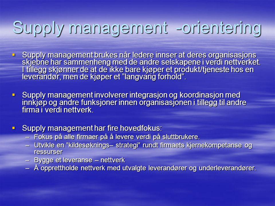 Supply management -orientering  Supply management brukes når ledere innser at deres organisasjons skjebne har sammenheng med de andre selskapene i verdi nettverket.