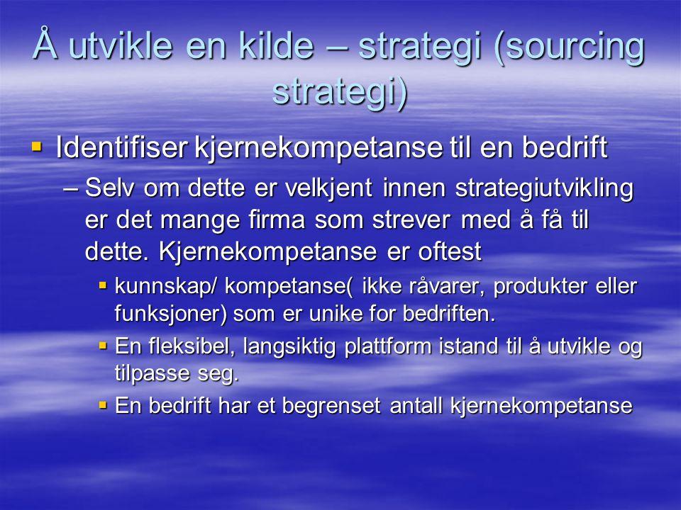 Å utvikle en kilde – strategi (sourcing strategi)  Identifiser kjernekompetanse til en bedrift –Selv om dette er velkjent innen strategiutvikling er det mange firma som strever med å få til dette.