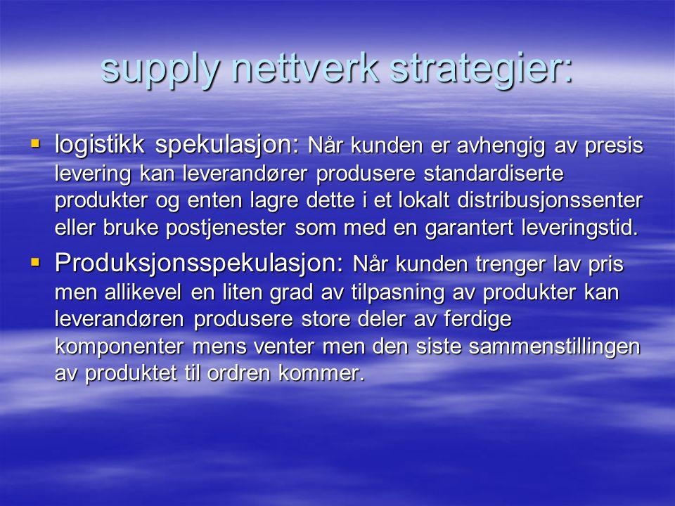  logistikk spekulasjon: Når kunden er avhengig av presis levering kan leverandører produsere standardiserte produkter og enten lagre dette i et lokalt distribusjonssenter eller bruke postjenester som med en garantert leveringstid.