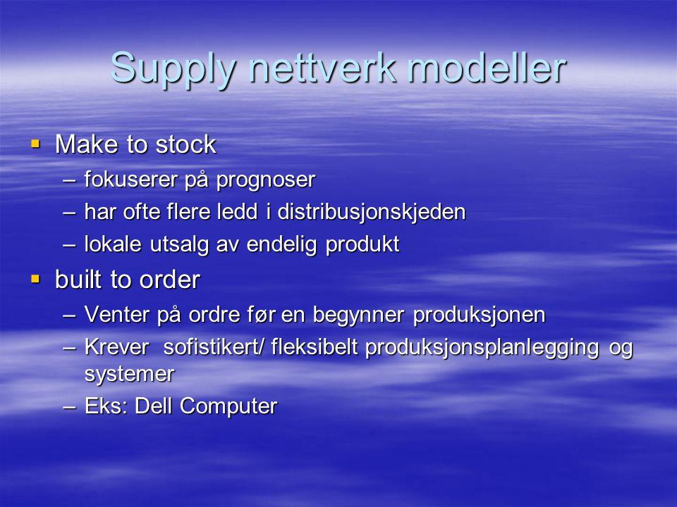 Supply nettverk modeller  Make to stock –fokuserer på prognoser –har ofte flere ledd i distribusjonskjeden –lokale utsalg av endelig produkt  built to order –Venter på ordre før en begynner produksjonen –Krever sofistikert/ fleksibelt produksjonsplanlegging og systemer –Eks: Dell Computer