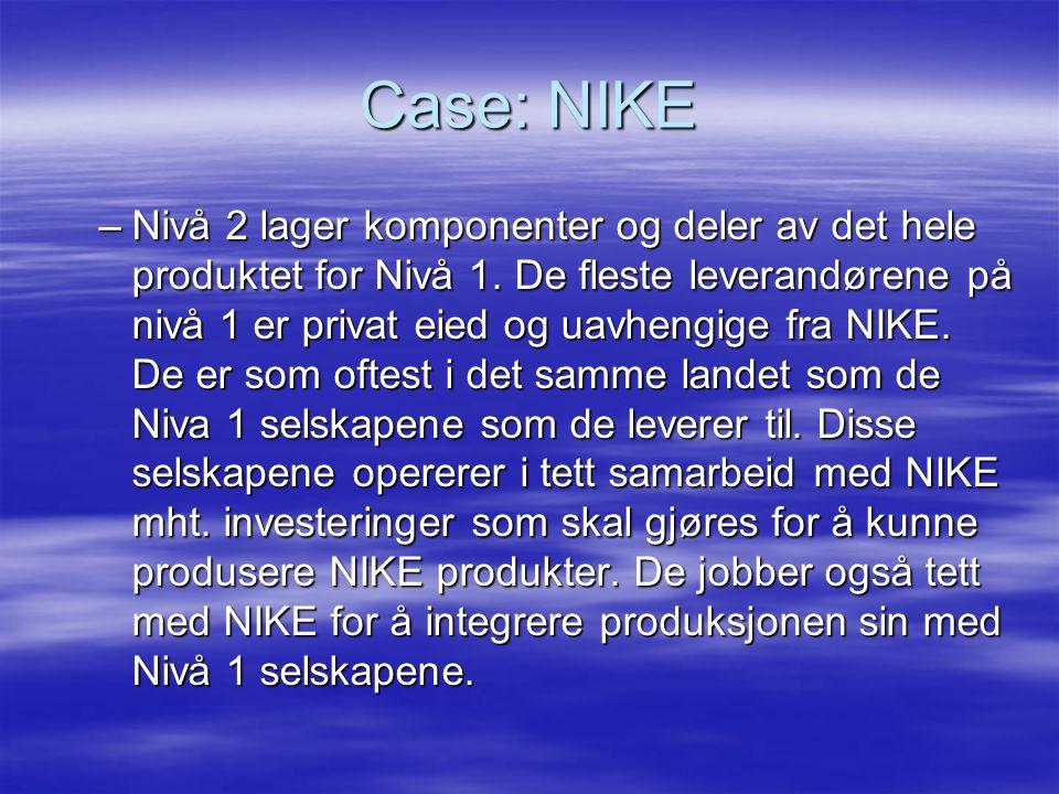 Case: NIKE –Nivå 2 lager komponenter og deler av det hele produktet for Nivå 1.