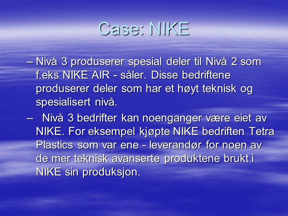 Case: NIKE –Nivå 3 produserer spesial deler til Nivå 2 som f.eks NIKE AIR - såler.