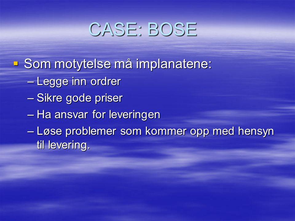 CASE: BOSE  Som motytelse må implanatene: –Legge inn ordrer –Sikre gode priser –Ha ansvar for leveringen –Løse problemer som kommer opp med hensyn til levering.