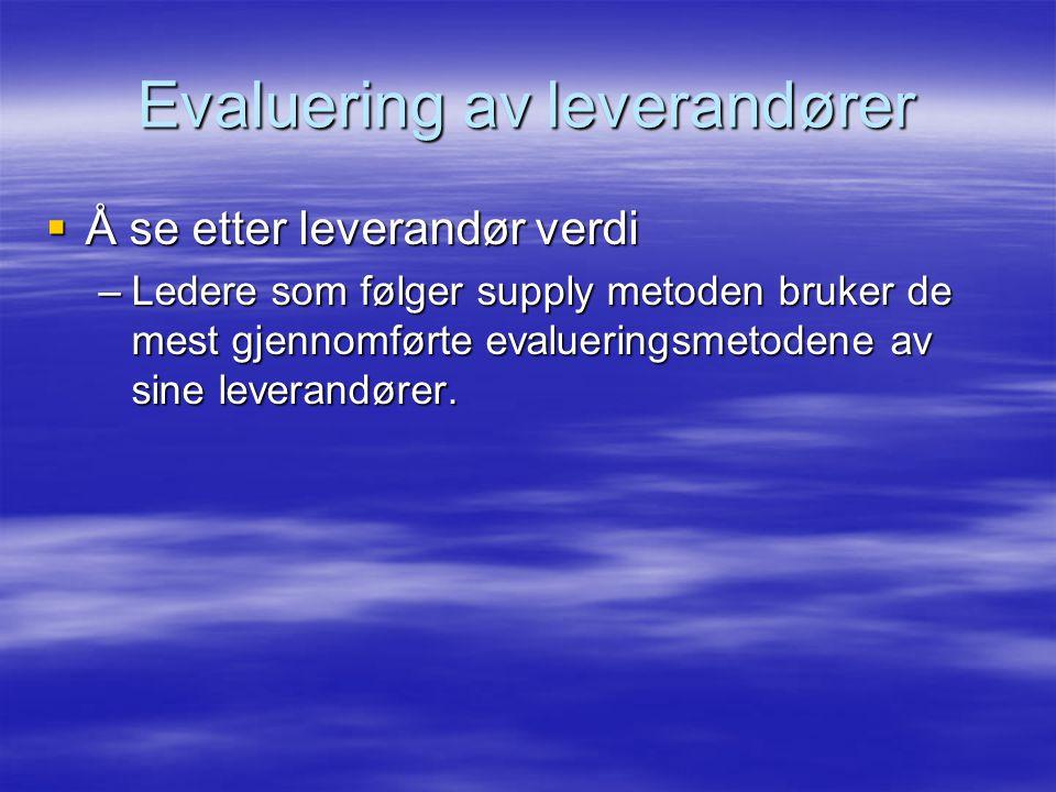  Å se etter leverandør verdi –Ledere som følger supply metoden bruker de mest gjennomførte evalueringsmetodene av sine leverandører.