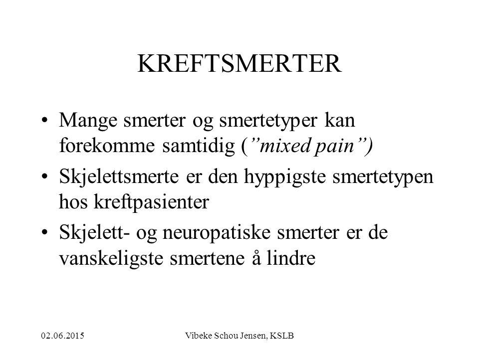 """02.06.2015Vibeke Schou Jensen, KSLB KREFTSMERTER Mange smerter og smertetyper kan forekomme samtidig (""""mixed pain"""") Skjelettsmerte er den hyppigste sm"""