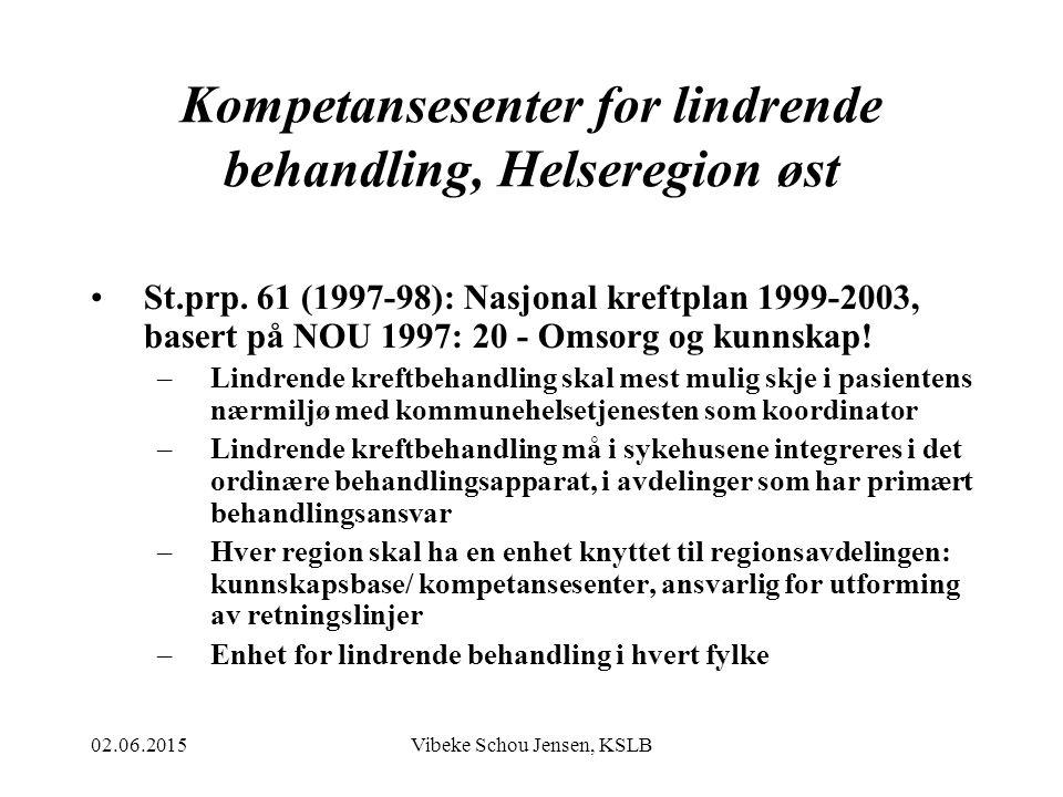 02.06.2015Vibeke Schou Jensen, KSLB Kompetansesenter for lindrende behandling, Helseregion øst St.prp. 61 (1997-98): Nasjonal kreftplan 1999-2003, bas