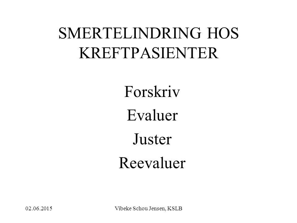 02.06.2015Vibeke Schou Jensen, KSLB SMERTELINDRING HOS KREFTPASIENTER Forskriv Evaluer Juster Reevaluer