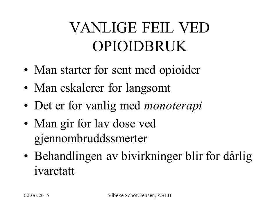 02.06.2015Vibeke Schou Jensen, KSLB VANLIGE FEIL VED OPIOIDBRUK Man starter for sent med opioider Man eskalerer for langsomt Det er for vanlig med mon