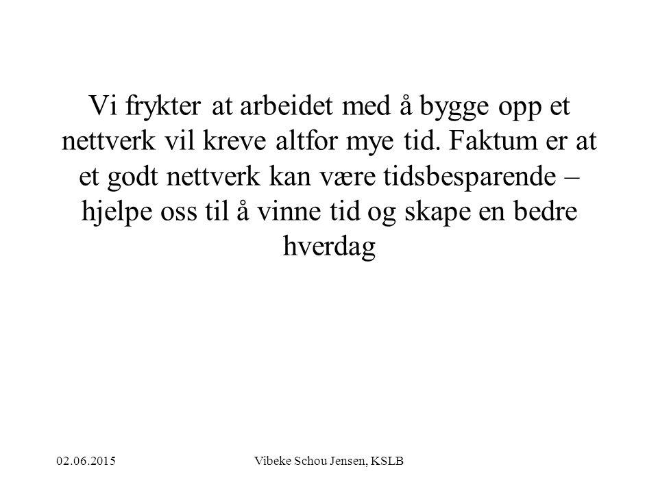 02.06.2015Vibeke Schou Jensen, KSLB Vi frykter at arbeidet med å bygge opp et nettverk vil kreve altfor mye tid. Faktum er at et godt nettverk kan vær