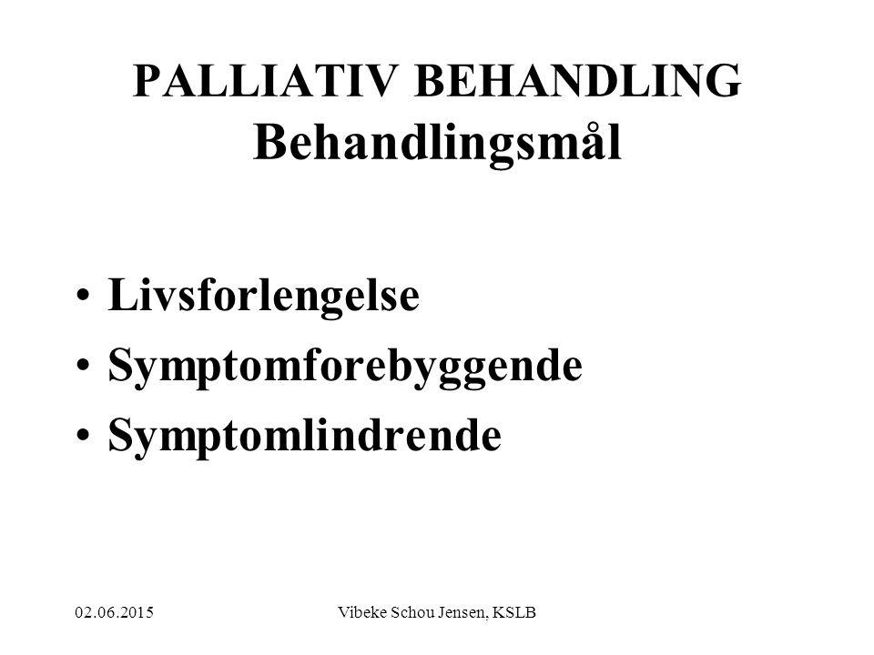 02.06.2015Vibeke Schou Jensen, KSLB LINDRENDE BEHANDLING KREVER: Kunnskap om- og tilgang til tilgjengelige redskap Vilje og evne til å ta redskapene i bruk Innsikt i- og korrekt fortolkning av pasientens totale symptombilde Evne og vilje til oppfølging og justering av behandlingen etter hvert som symptombildet endrer seg og sykdommen progredierer.
