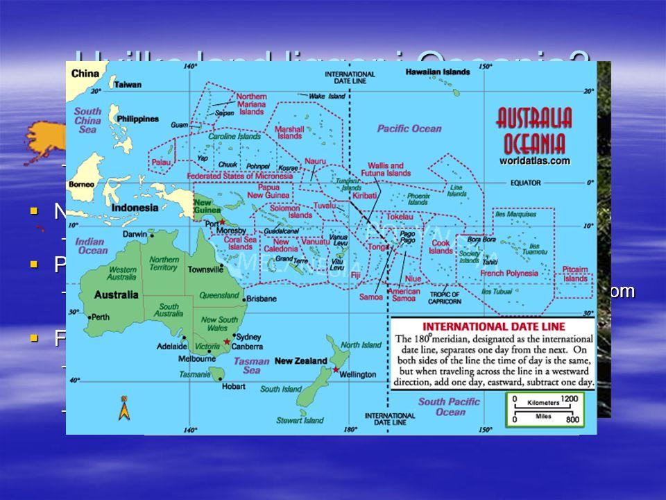 Hvilke land ligger i Oseania.