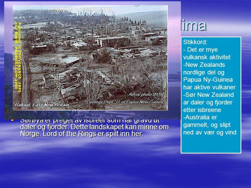 Landskap, vær og klima  På kysten ved Stillehavet er det mye vulkansk aktivitet.