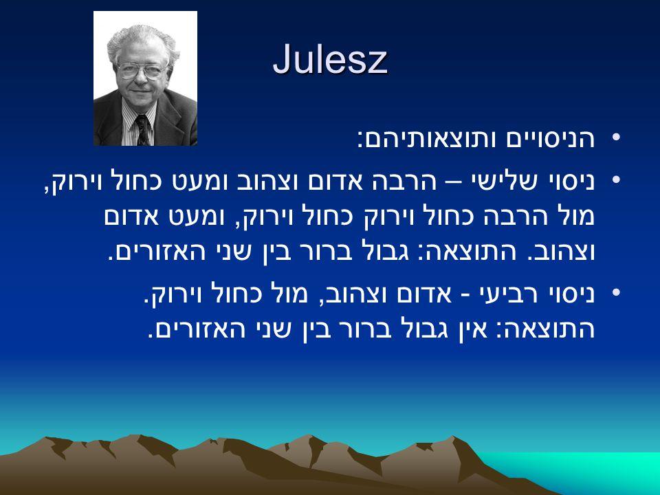 Julesz הניסויים ותוצאותיהם: ניסוי שלישי – הרבה אדום וצהוב ומעט כחול וירוק, מול הרבה כחול וירוק כחול וירוק, ומעט אדום וצהוב. התוצאה: גבול ברור בין שני