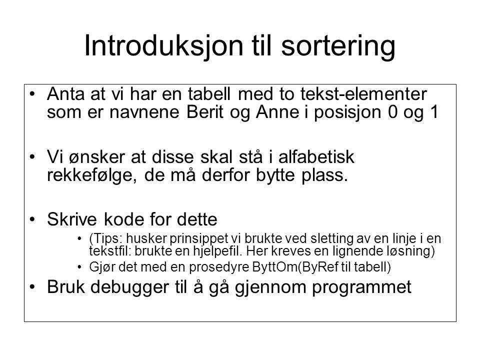 Introduksjon til sortering Anta at vi har en tabell med to tekst-elementer som er navnene Berit og Anne i posisjon 0 og 1 Vi ønsker at disse skal stå i alfabetisk rekkefølge, de må derfor bytte plass.