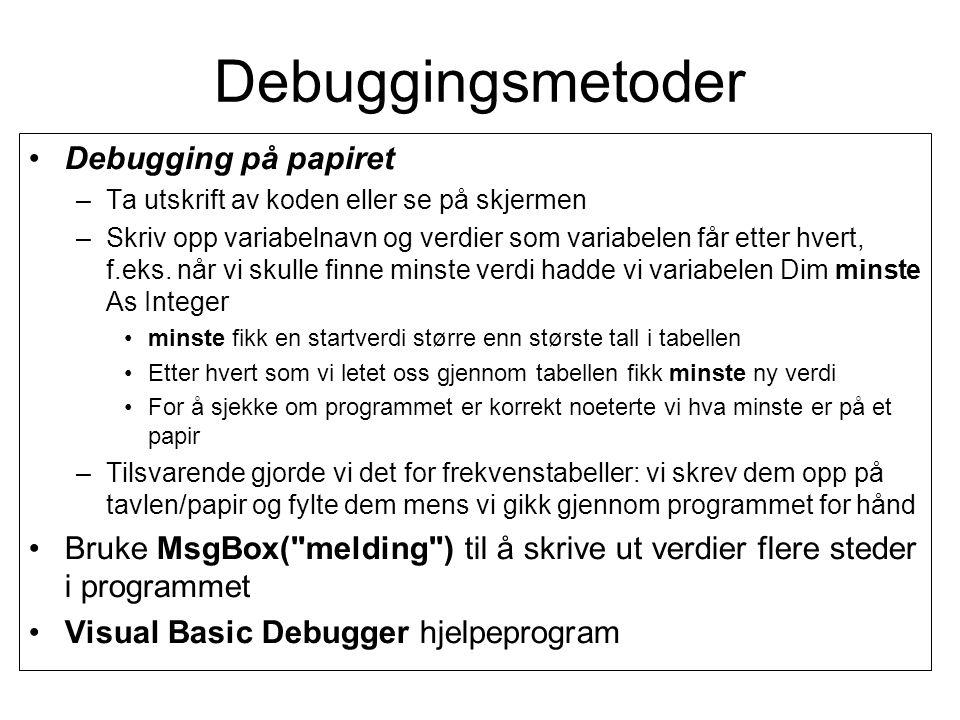 Debuggingsmetoder Debugging på papiret –Ta utskrift av koden eller se på skjermen –Skriv opp variabelnavn og verdier som variabelen får etter hvert, f.eks.