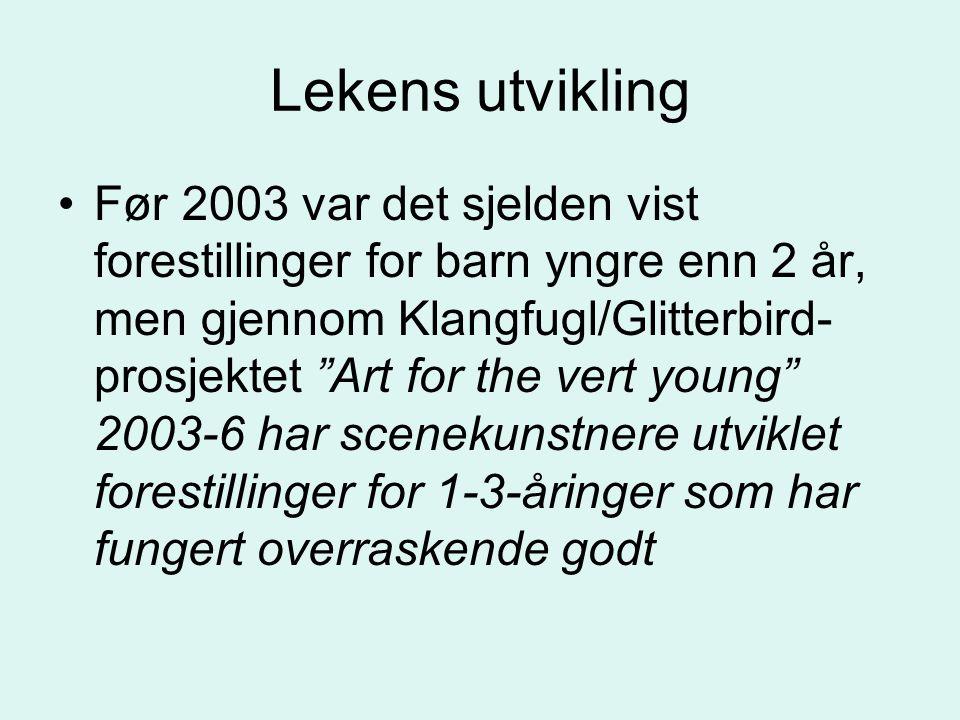 """Lekens utvikling Før 2003 var det sjelden vist forestillinger for barn yngre enn 2 år, men gjennom Klangfugl/Glitterbird- prosjektet """"Art for the vert"""