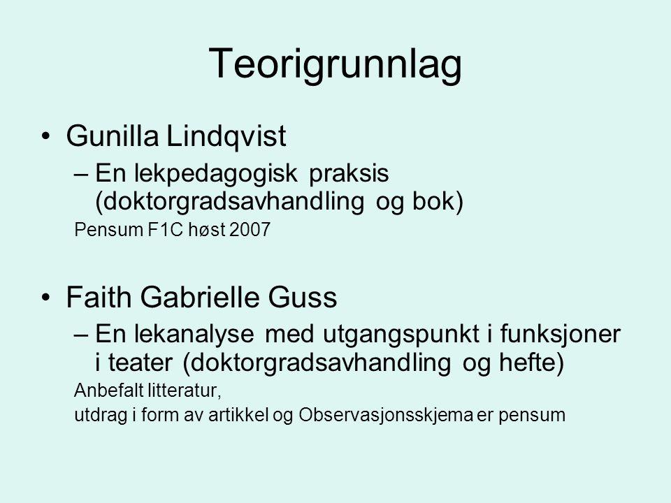 Teorigrunnlag Gunilla Lindqvist –En lekpedagogisk praksis (doktorgradsavhandling og bok) Pensum F1C høst 2007 Faith Gabrielle Guss –En lekanalyse med