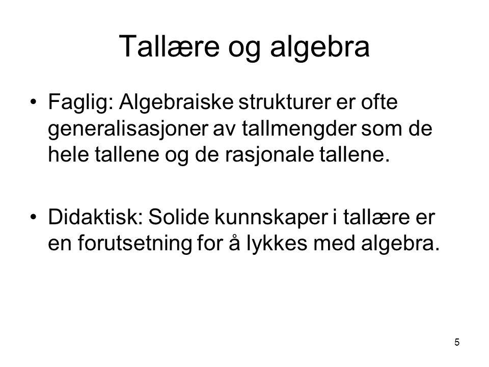 5 Tallære og algebra Faglig: Algebraiske strukturer er ofte generalisasjoner av tallmengder som de hele tallene og de rasjonale tallene. Didaktisk: So