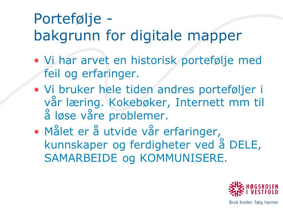 Portefølje - bakgrunn for digitale mapper Vi har arvet en historisk portefølje med feil og erfaringer. Vi bruker hele tiden andres porteføljer i vår l