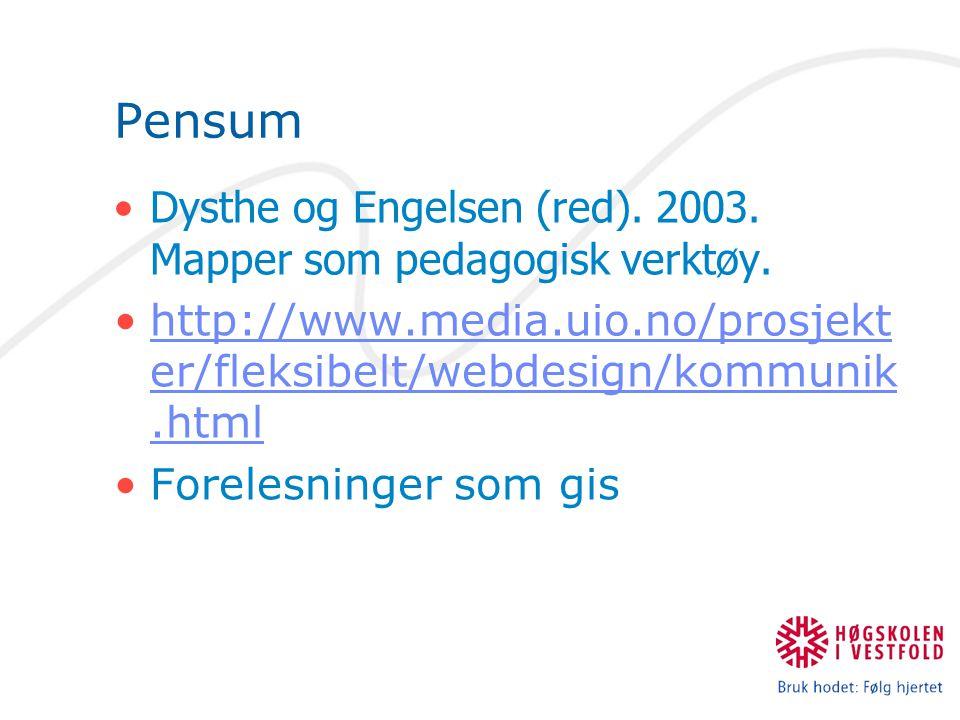 Pensum Dysthe og Engelsen (red). 2003. Mapper som pedagogisk verktøy. http://www.media.uio.no/prosjekt er/fleksibelt/webdesign/kommunik.htmlhttp://www