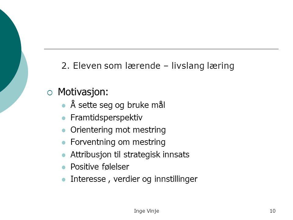 Inge Vinje10 2. Eleven som lærende – livslang læring  Motivasjon: Å sette seg og bruke mål Framtidsperspektiv Orientering mot mestring Forventning om