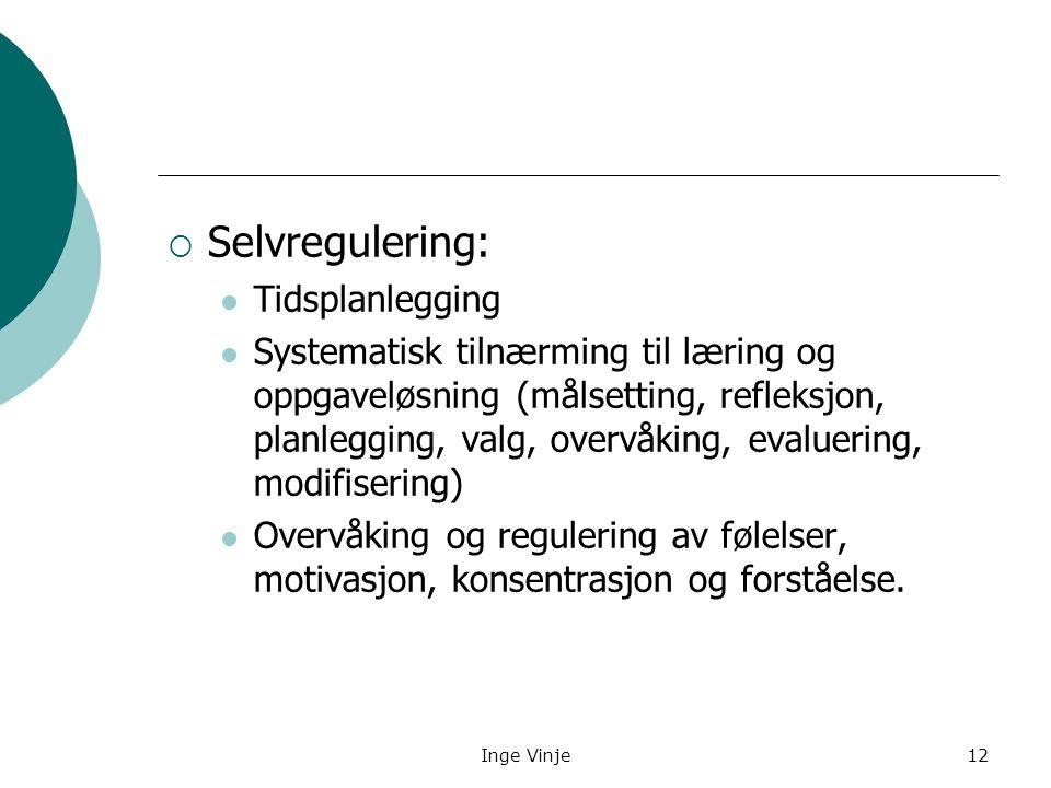 Inge Vinje12  Selvregulering: Tidsplanlegging Systematisk tilnærming til læring og oppgaveløsning (målsetting, refleksjon, planlegging, valg, overvåk