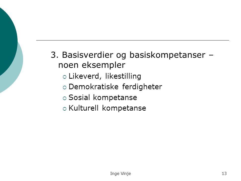 Inge Vinje13 3. Basisverdier og basiskompetanser – noen eksempler  Likeverd, likestilling  Demokratiske ferdigheter  Sosial kompetanse  Kulturell