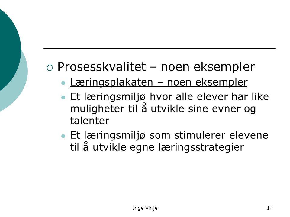 Inge Vinje14  Prosesskvalitet – noen eksempler Læringsplakaten – noen eksempler Et læringsmiljø hvor alle elever har like muligheter til å utvikle si