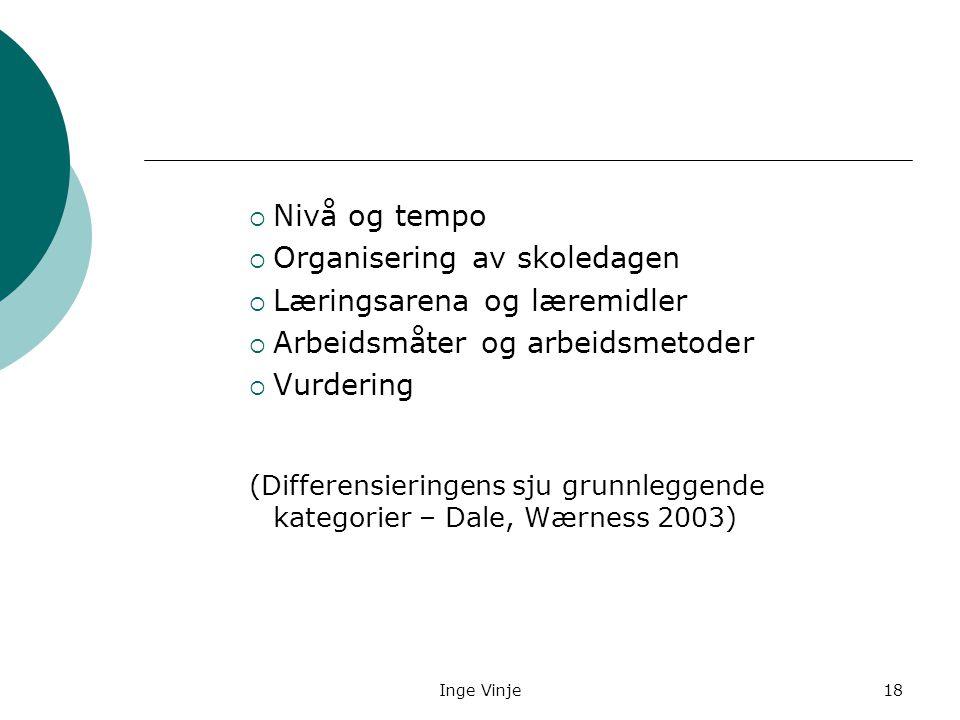 Inge Vinje18  Nivå og tempo  Organisering av skoledagen  Læringsarena og læremidler  Arbeidsmåter og arbeidsmetoder  Vurdering (Differensieringen