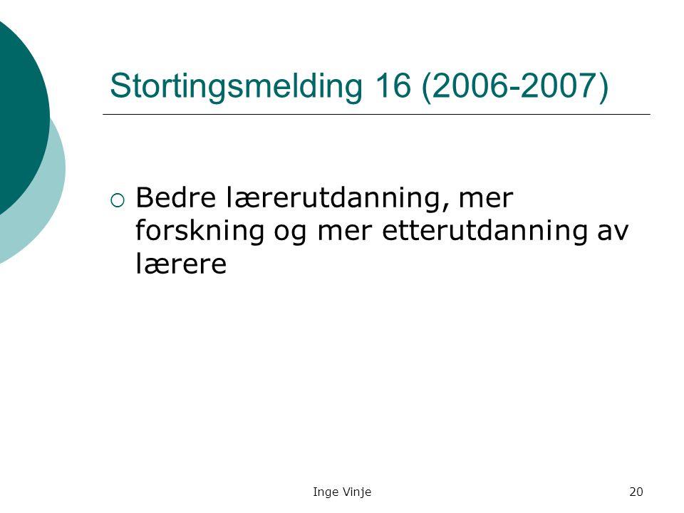 Inge Vinje20 Stortingsmelding 16 (2006-2007)  Bedre lærerutdanning, mer forskning og mer etterutdanning av lærere