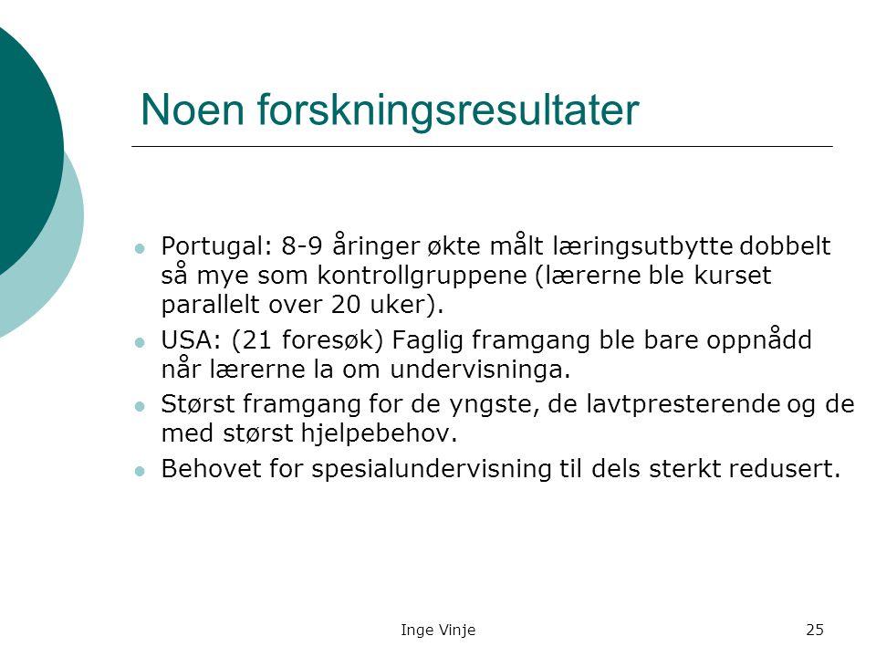 Inge Vinje25 Noen forskningsresultater Portugal: 8-9 åringer økte målt læringsutbytte dobbelt så mye som kontrollgruppene (lærerne ble kurset parallel