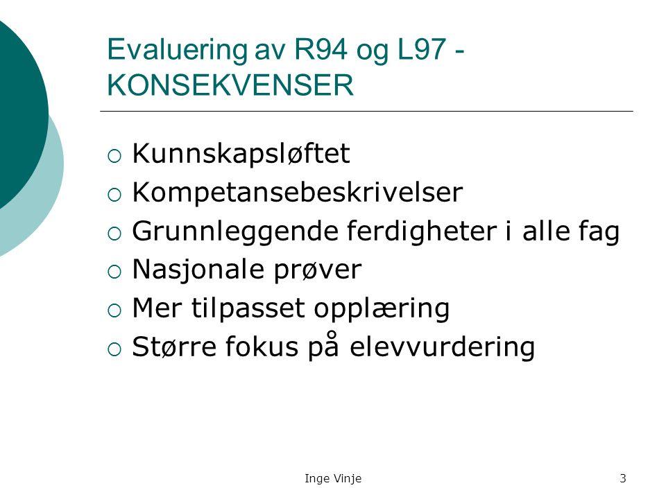 Inge Vinje3 Evaluering av R94 og L97 - KONSEKVENSER  Kunnskapsløftet  Kompetansebeskrivelser  Grunnleggende ferdigheter i alle fag  Nasjonale prøv