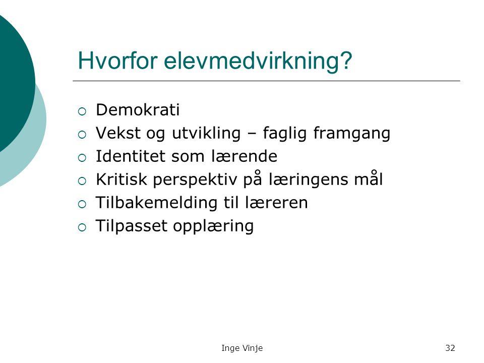 Inge Vinje32 Hvorfor elevmedvirkning?  Demokrati  Vekst og utvikling – faglig framgang  Identitet som lærende  Kritisk perspektiv på læringens mål