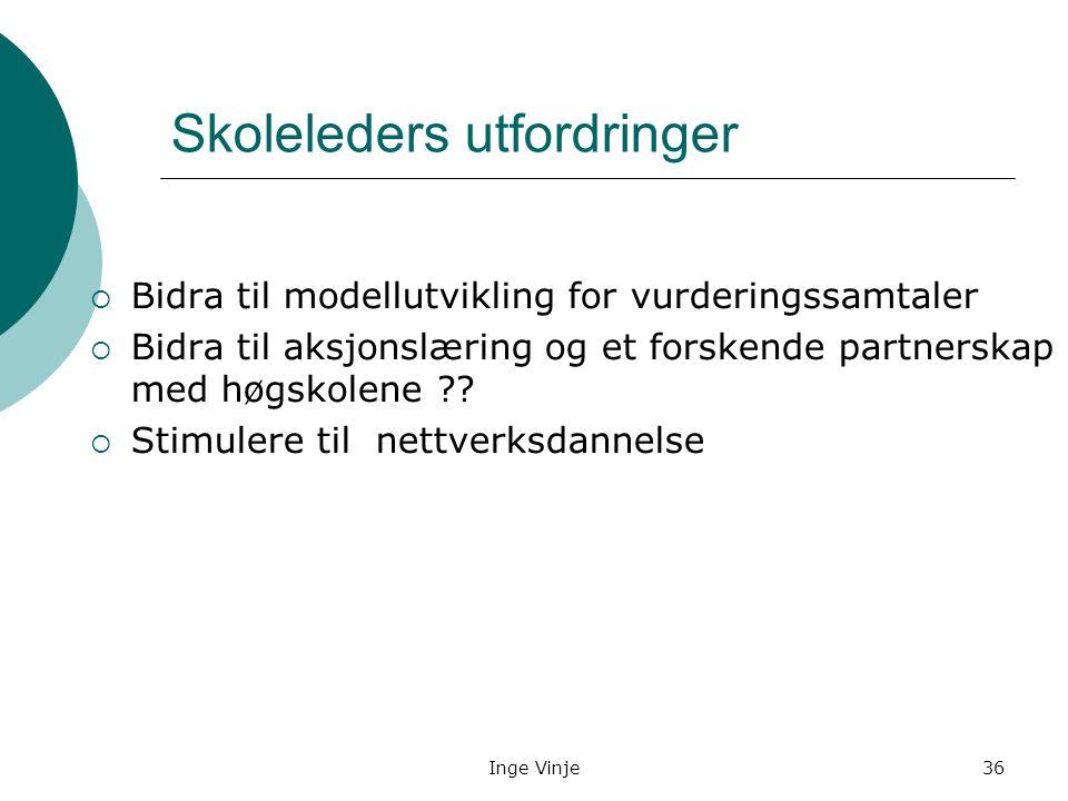 Inge Vinje36 Skoleleders utfordringer  Bidra til modellutvikling for vurderingssamtaler  Bidra til aksjonslæring og et forskende partnerskap med høg