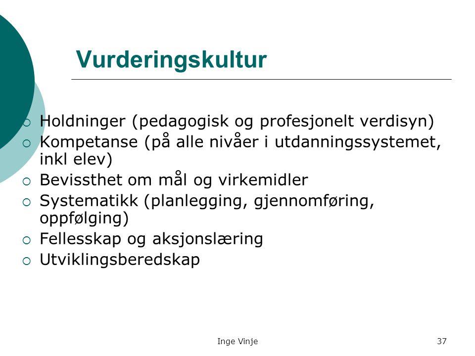 Inge Vinje37 Vurderingskultur  Holdninger (pedagogisk og profesjonelt verdisyn)  Kompetanse (på alle nivåer i utdanningssystemet, inkl elev)  Bevis