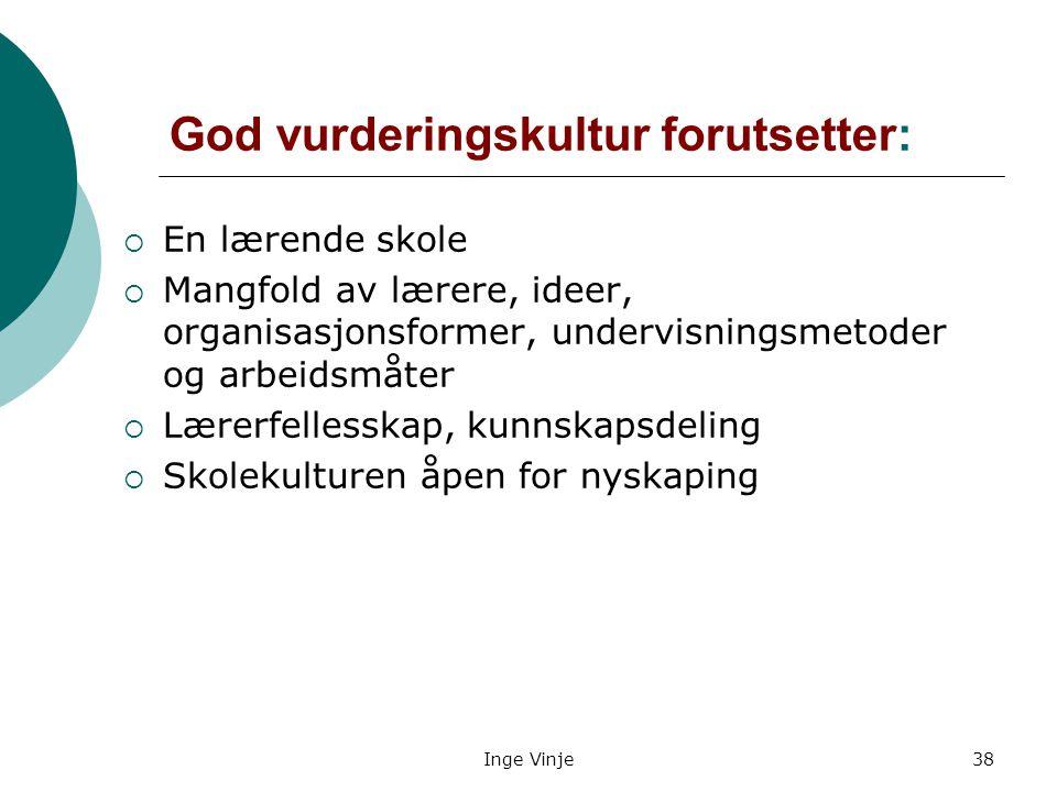 Inge Vinje38 God vurderingskultur forutsetter:  En lærende skole  Mangfold av lærere, ideer, organisasjonsformer, undervisningsmetoder og arbeidsmåt