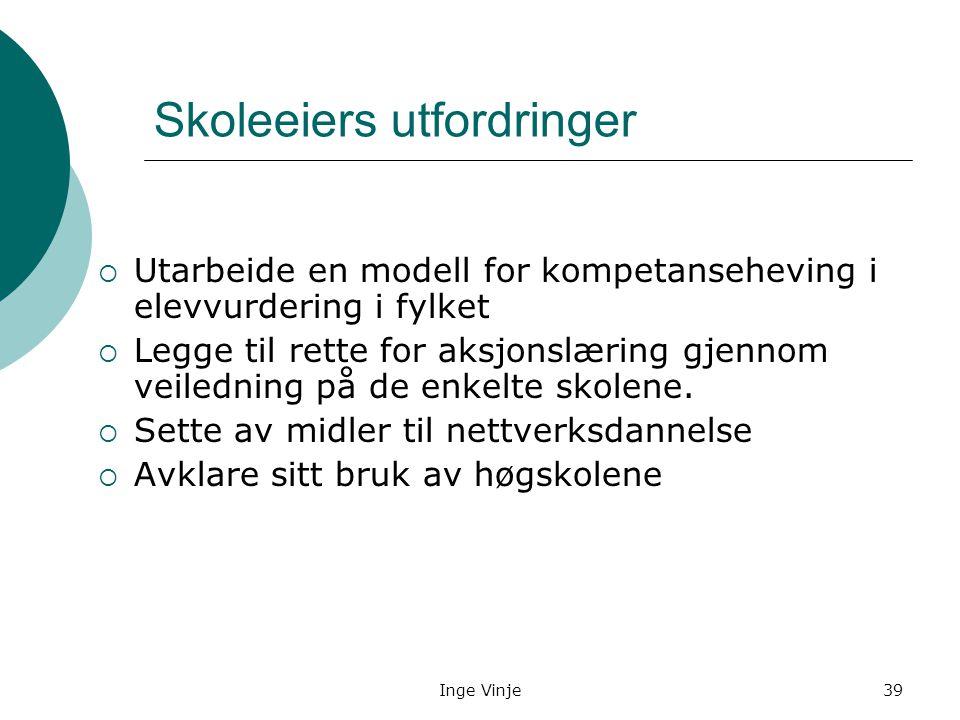 Inge Vinje39 Skoleeiers utfordringer  Utarbeide en modell for kompetanseheving i elevvurdering i fylket  Legge til rette for aksjonslæring gjennom v