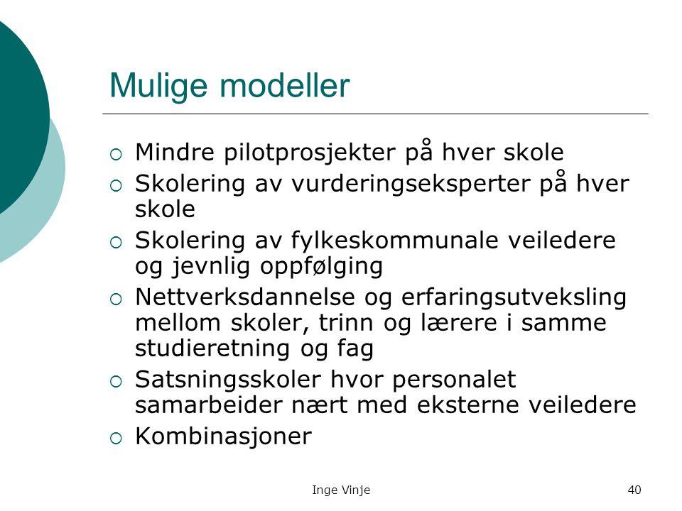 Inge Vinje40 Mulige modeller  Mindre pilotprosjekter på hver skole  Skolering av vurderingseksperter på hver skole  Skolering av fylkeskommunale ve