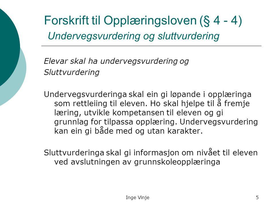 Inge Vinje5 Forskrift til Opplæringsloven (§ 4 - 4) Undervegsvurdering og sluttvurdering Elevar skal ha undervegsvurdering og Sluttvurdering Undervegs